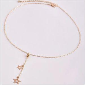 Gold Star Boho Lariat Pendant Necklace!